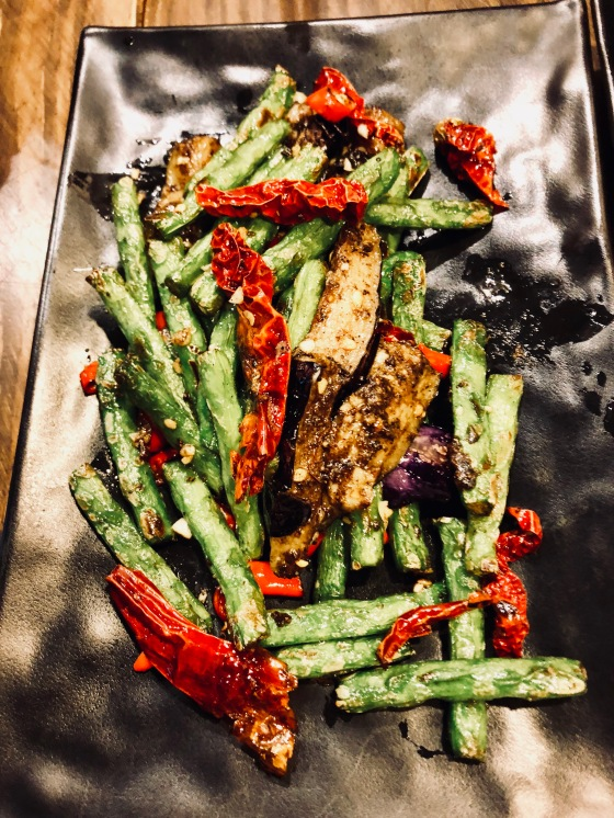 Fried asparagus and eggplant