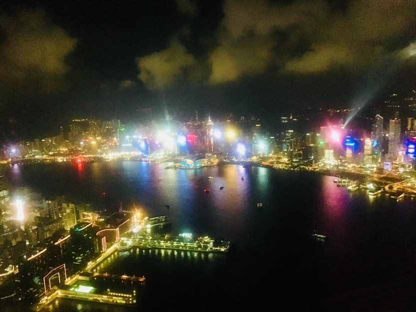 Ozone bar views of Hong Kong lightshow